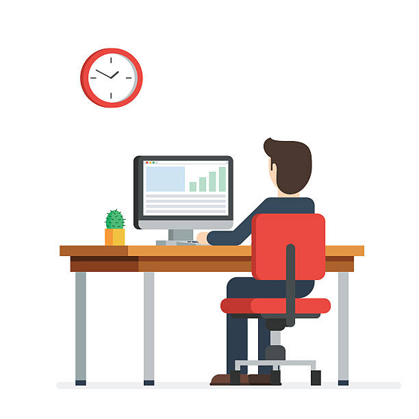 Business man working on computer Business person working on computer. Businessman sitting on a red chair behind the office Desk with a cactus, wall clock. Cool vector flat illustration character design isolated on white background back stock illustrations