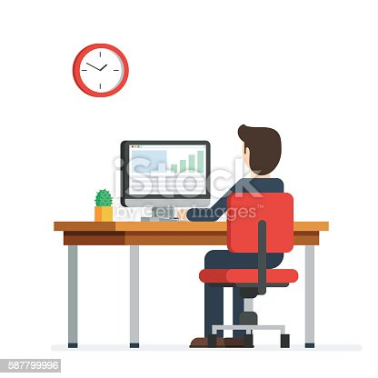 Business Man Working On Computer Stock Vector Art & More ...