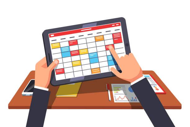 ilustraciones, imágenes clip art, dibujos animados e iconos de stock de hombre de negocios trabajando en tableta, planificación de proyecto. ilustración de imágenes prediseñadas de vector plano - tareas domésticas