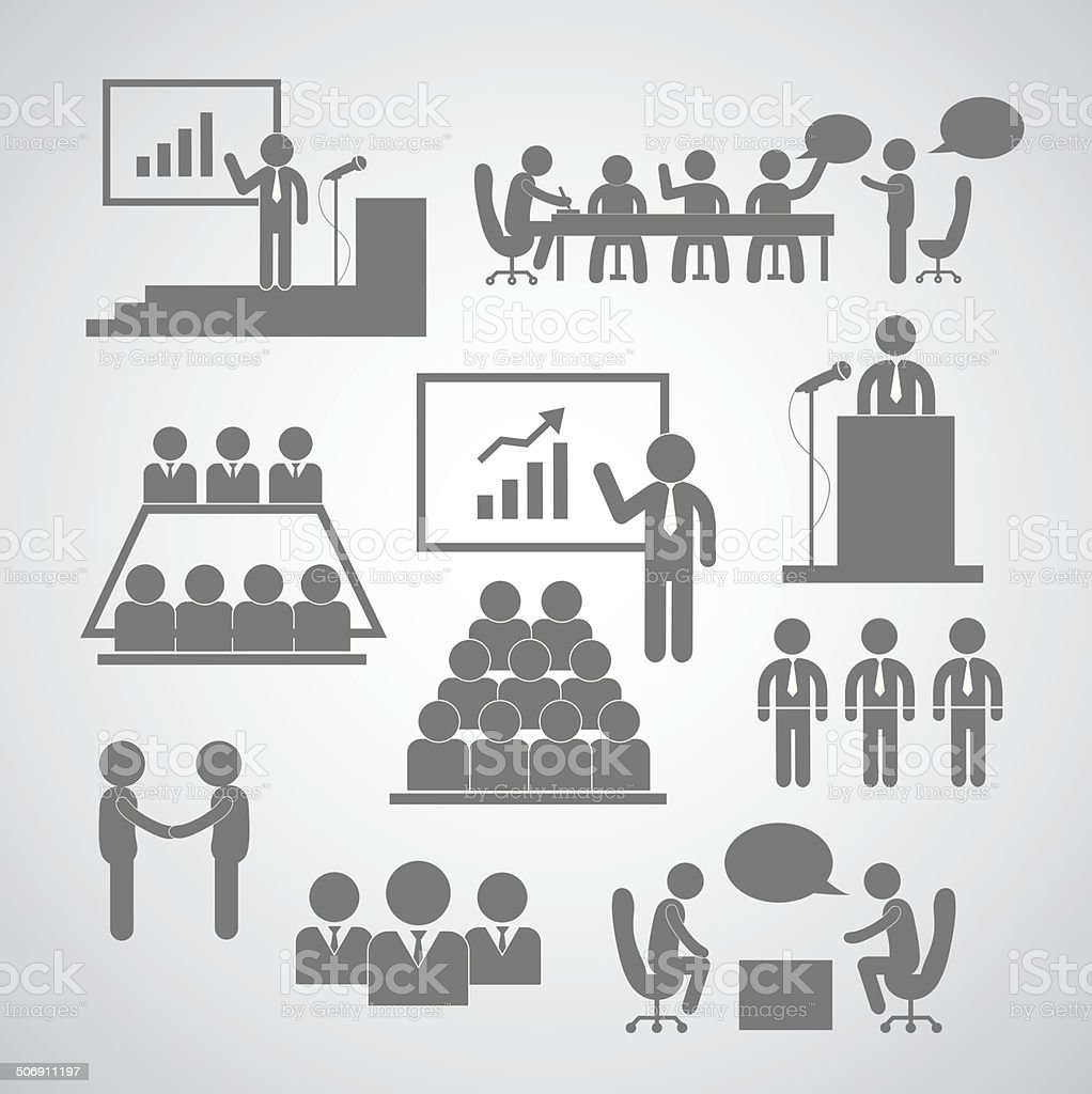 Business management and conference icon vector art illustration