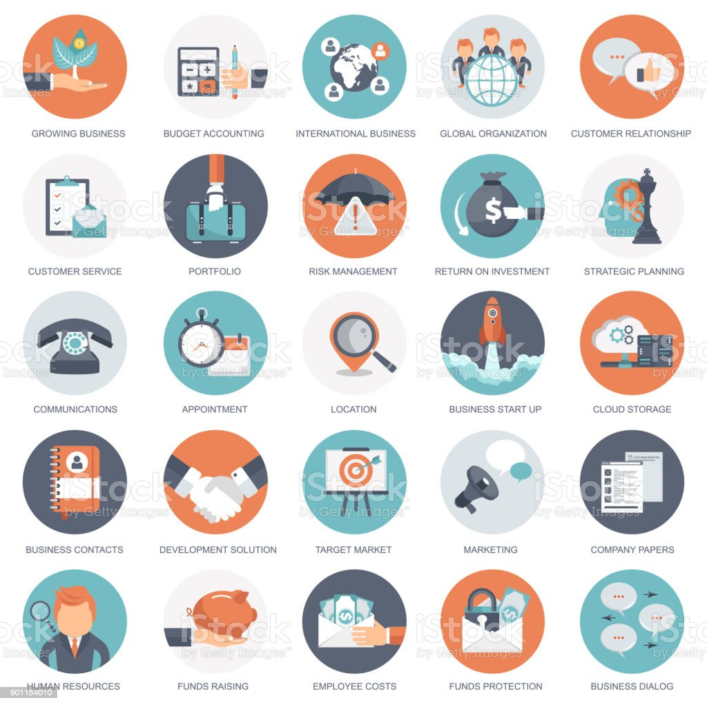 Business, management and finances icon set. Flat vector illustration vector art illustration