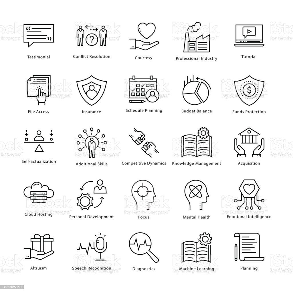 Gestion d'entreprise et croissance vecteur ligne icônes 20 - Illustration vectorielle