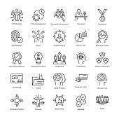 Business Management and Growth Vector Line Icons 21
