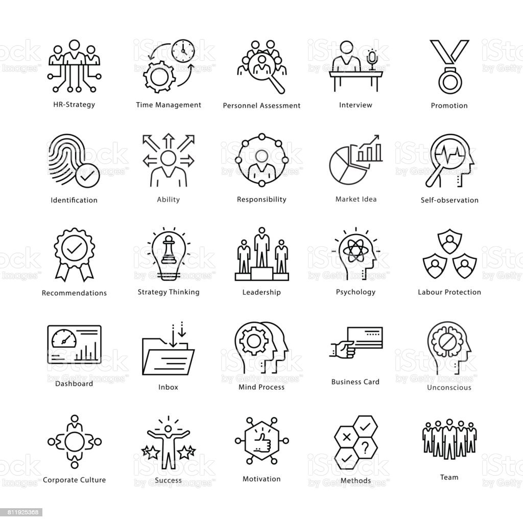 Business Management and Growth Vector Line Icons 21 vector art illustration
