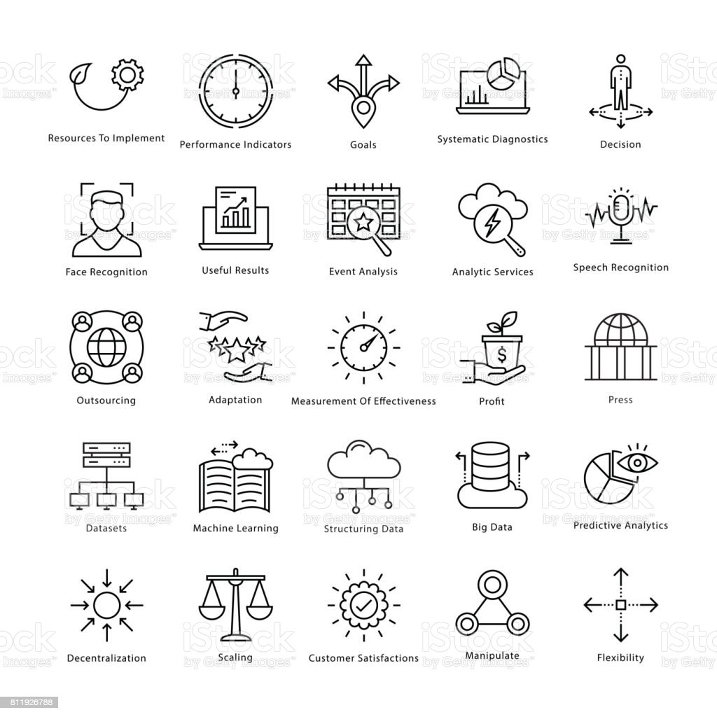 Business Management and Growth Vector Line Icons 28 vector art illustration