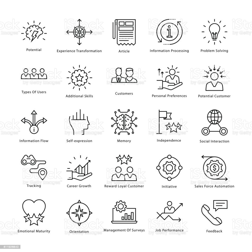 Business Management and Growth Vector Line Icons 34 vector art illustration