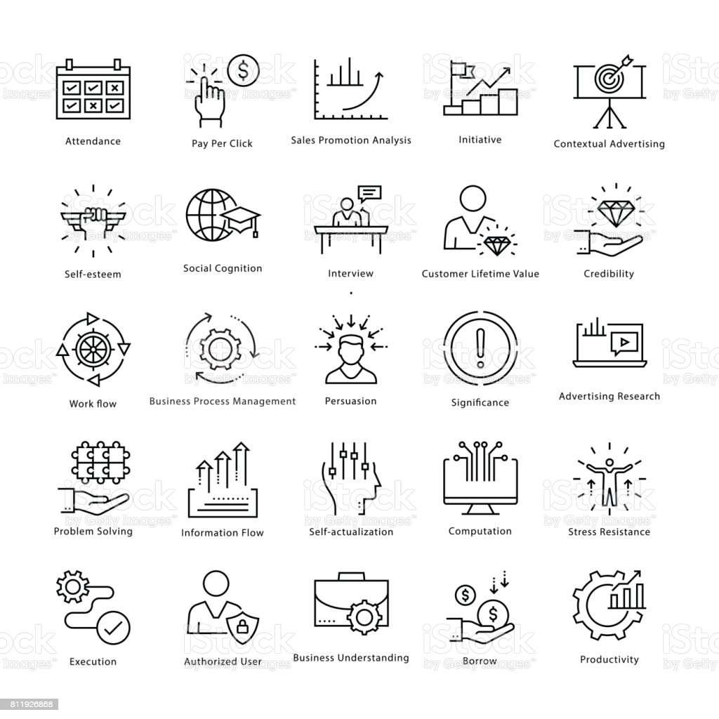 Business Management and Growth Vector Line Icons 35 vector art illustration