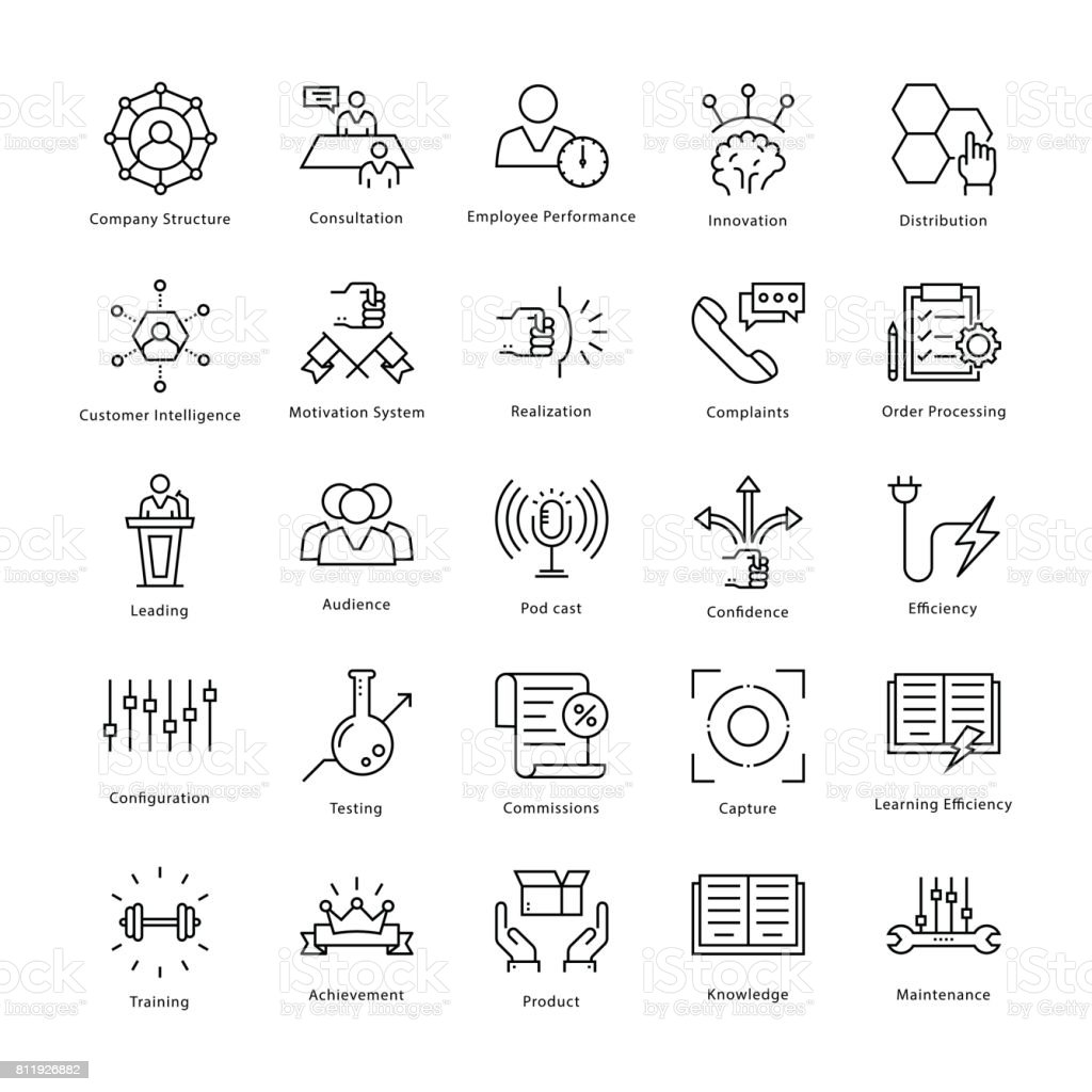 Business Management and Growth Vector Line Icons 41 vector art illustration