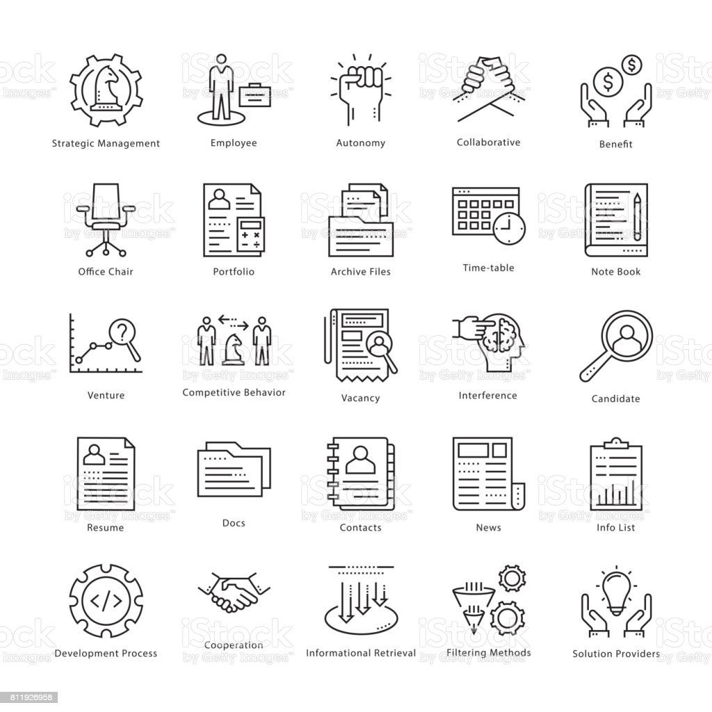 Business Management and Growth Vector Line Icons 6 vector art illustration