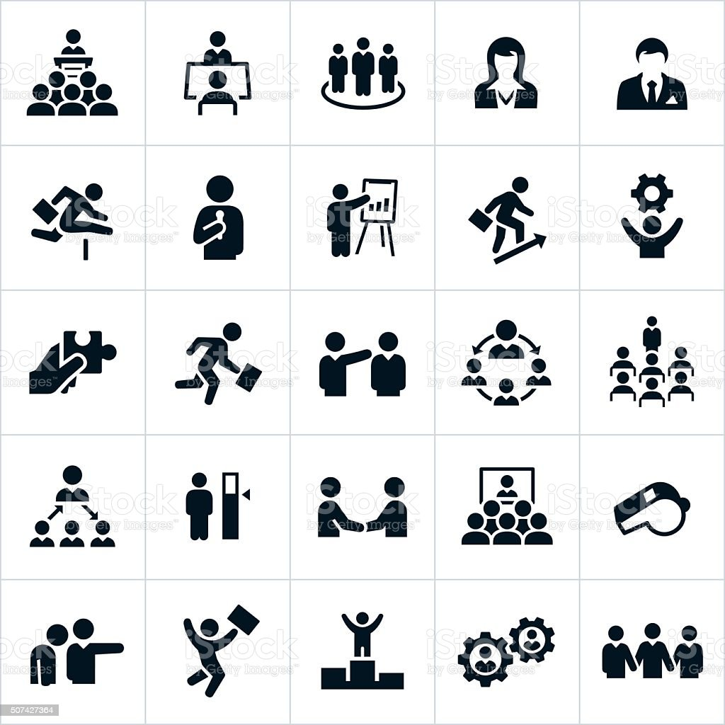 Business Management and Leadership Icons vector art illustration