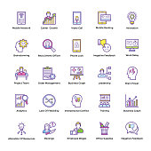 Business Management and Planning Theme Flat Line Icons
