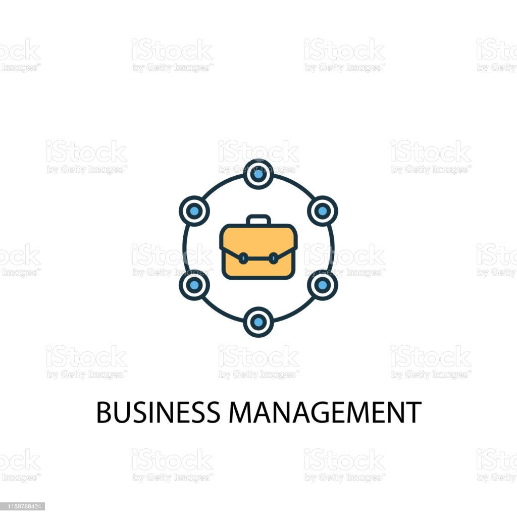 business management concept 2 colored line icon. Simple yellow and...