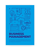 Business Management Concept Line Style Cover Design for Annual Report, Flyer, Brochure.