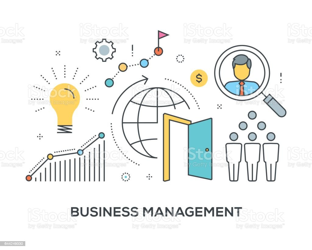 Business Management Concept with icons vector art illustration