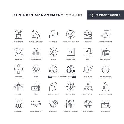 Business Management Editable Stroke Line Icons