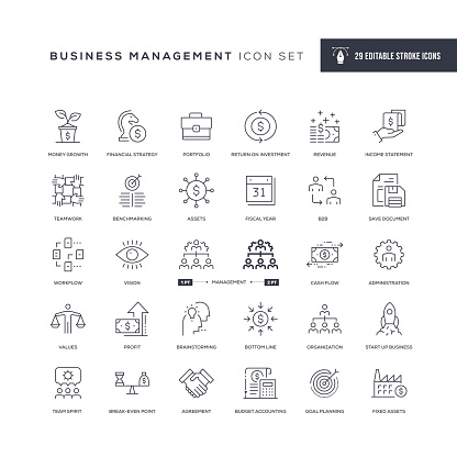 29 Business Management Icons - Editable Stroke - Easy to edit and customize - You can easily customize the stroke with