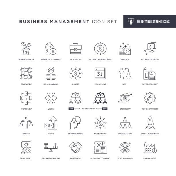 illustrazioni stock, clip art, cartoni animati e icone di tendenza di business management editable stroke line icons - ricchezza
