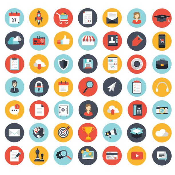 비즈니스, 관리, 재정 및 기술 아이콘 웹 사이트 및 모바일 응용 프로그램에 대 한 설정. 평면 벡터 일러스트 - 플랫 디자인 stock illustrations