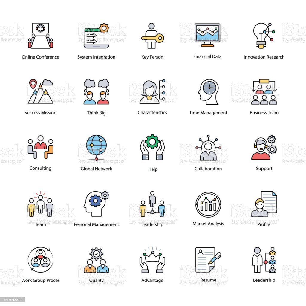 Business Management flache Icons Set – Vektorgrafik