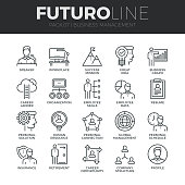 Business Management Futuro Line Icons Set