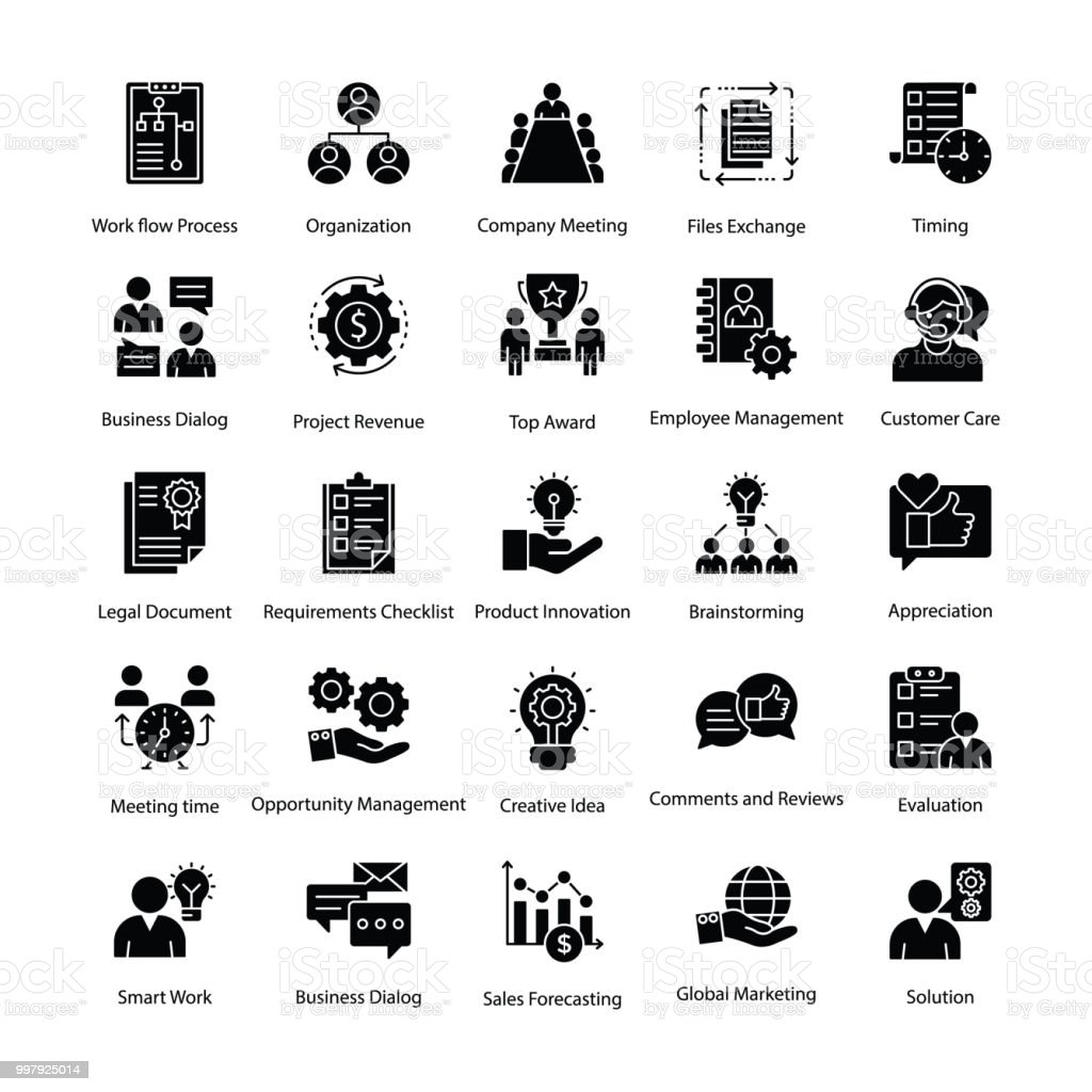 Business Management Glyphe Icons Set – Vektorgrafik