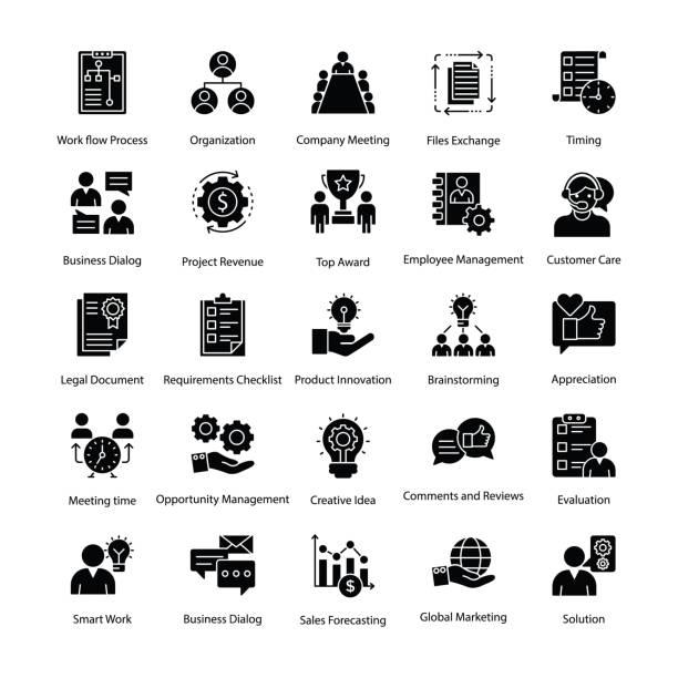 illustrations, cliparts, dessins animés et icônes de entreprise gestion glyphe icons set - chef de projet