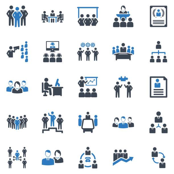 geschäftsführung icon set-1 (blue series) - meeting stock-grafiken, -clipart, -cartoons und -symbole