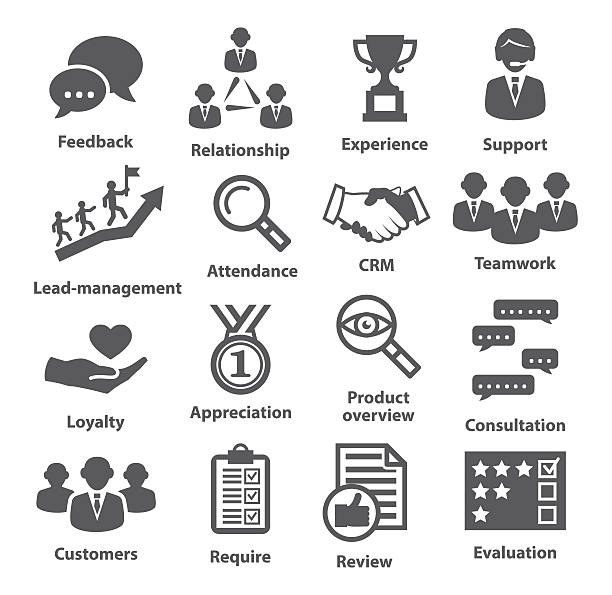 stockillustraties, clipart, cartoons en iconen met business management icons. pack 03. - gemak