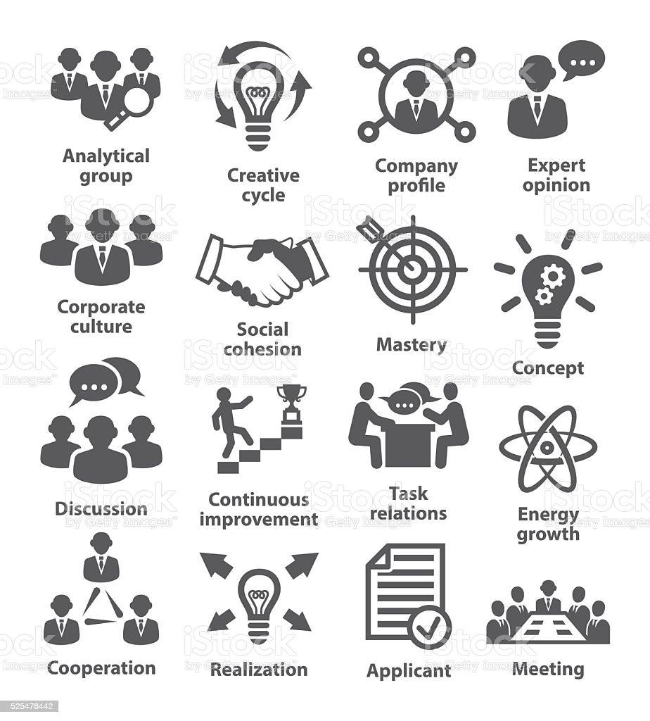 Business management icons. Pack 14. vector art illustration