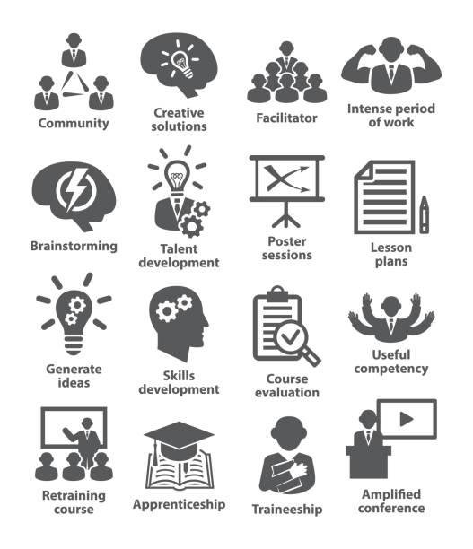 Business management icons Pack 31 vector art illustration