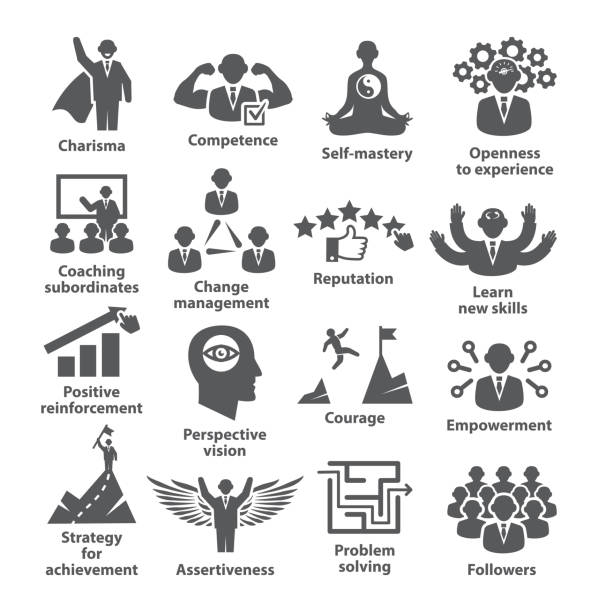 Business management icons Pack 45 Icons for leadership, career vector art illustration