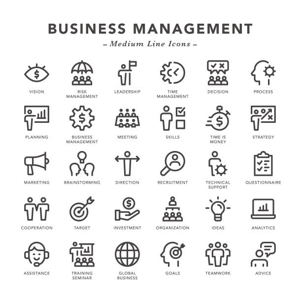 Business Management - Medium Line Icons Business Management - Medium Line Icons - Vector EPS 10 File, Pixel Perfect 30 Icons. time is money stock illustrations