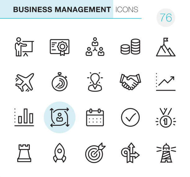 Business Management - Pixel Perfect icons 20 Outline Style - Black line - Pixel Perfect icons / Set #76 Icons are designed in 48x48pх square, outline stroke 2px.  First row of outline icons contains:  Presentation, Certificate, Teamwork, Making Money, To the top;  Second row contains:  Business Travel, Stopwatch, Expertise, Handshake, Moving Up Graph;  Third row contains:  Financial Report Chart, User Predictions, Calendar Date, Mark as Done, First Place;   Fourth row contains:  Chess Rook, Rocket, Target, Arrow direction (Decisions), Lighthouse.  Complete Primico collection - https://www.istockphoto.com/collaboration/boards/NQPVdXl6m0W6Zy5mWYkSyw transformation stock illustrations