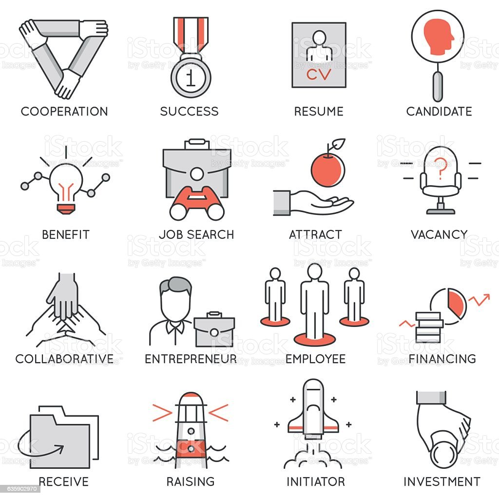 Business management, strategy, career progress and process icons - 1 vector art illustration