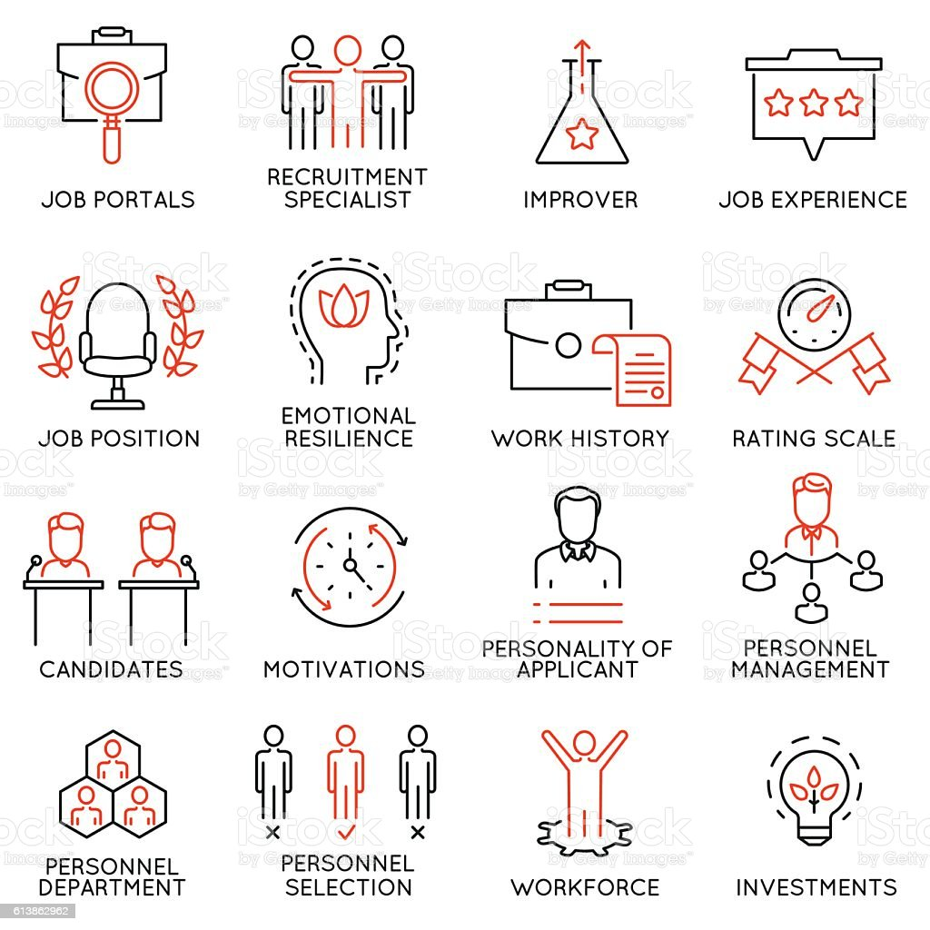 Business management, strategy, career progress icons - part 51 - Illustration vectorielle