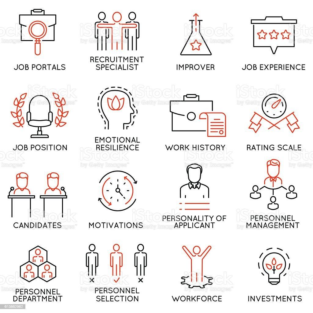 Business management, strategy, career progress icons - part 51 vector art illustration