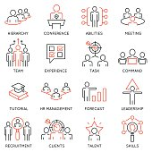 Business management, strategy, career progress icons - part 54