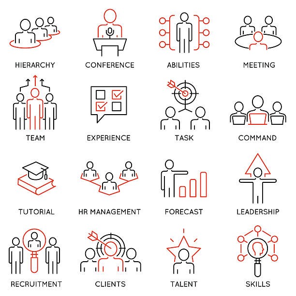 Business management, strategy, career progress icons - part 54 vector art illustration