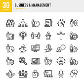 Business & Management set of 30 thin line vector icons.