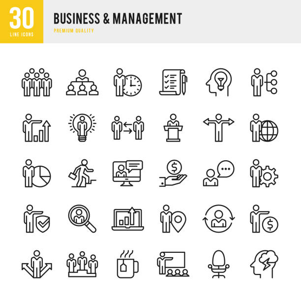 business & management - thin line icon set - business icons stock illustrations, clip art, cartoons, & icons
