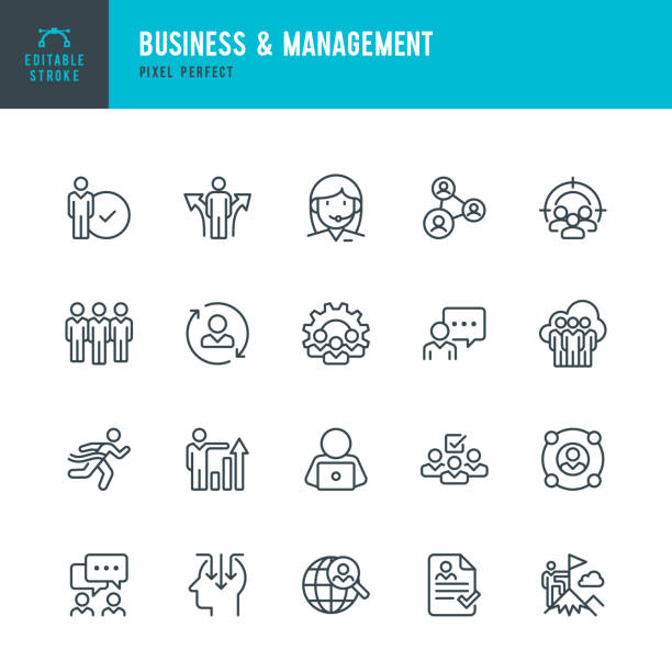Business & Management - Dünnlinien-Vektor-Symbol-Set. Pixel perfekt. Bearbeitbarer Strich. Das Set enthält die Symbole Personen, Personal, Teamarbeit, Support, Lebenslauf, Auswahl. – Vektorgrafik