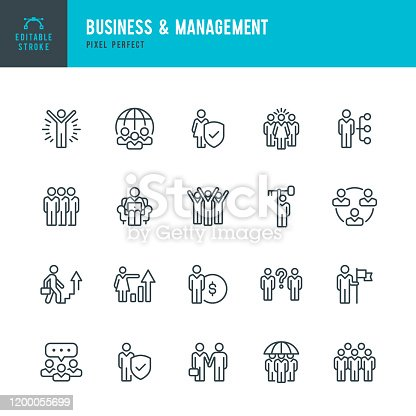 Business & Management - line vector icon set. 20 linear icon. Pixel perfect. Editable stroke. The set contains icons: People, Human Resources, Teamwork, Support, Career, Choice, Growth, Manager, Wining, Communication, Distant Work, Insurance.