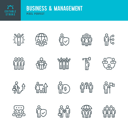 Business & Management - thin line vector icon set. Pixel perfect. Editable stroke. The set contains icons: People, Teamwork, Partnership, Presentation, Leadership, Growth, Manager.