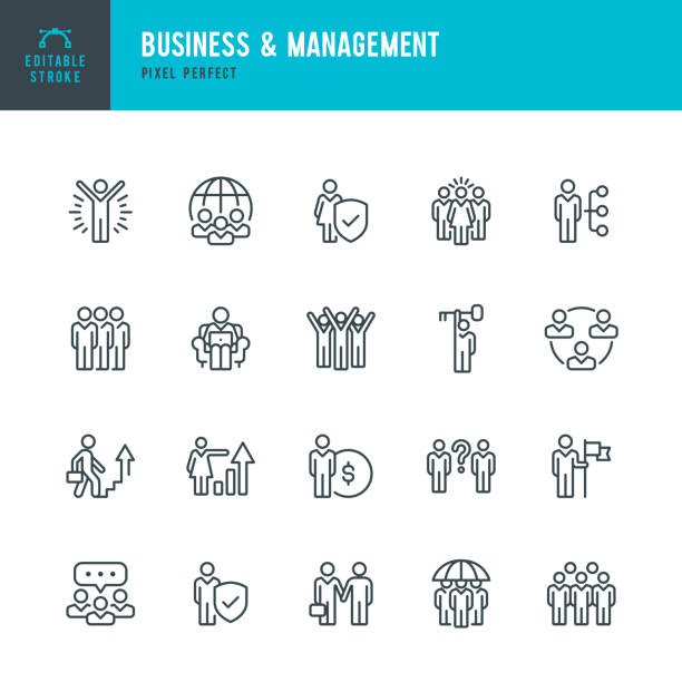 illustrazioni stock, clip art, cartoni animati e icone di tendenza di business & management - thin line vector icon set. pixel perfect. editable stroke. the set contains icons: people, teamwork, partnership, presentation, leadership, growth, manager. - reparto assunzioni