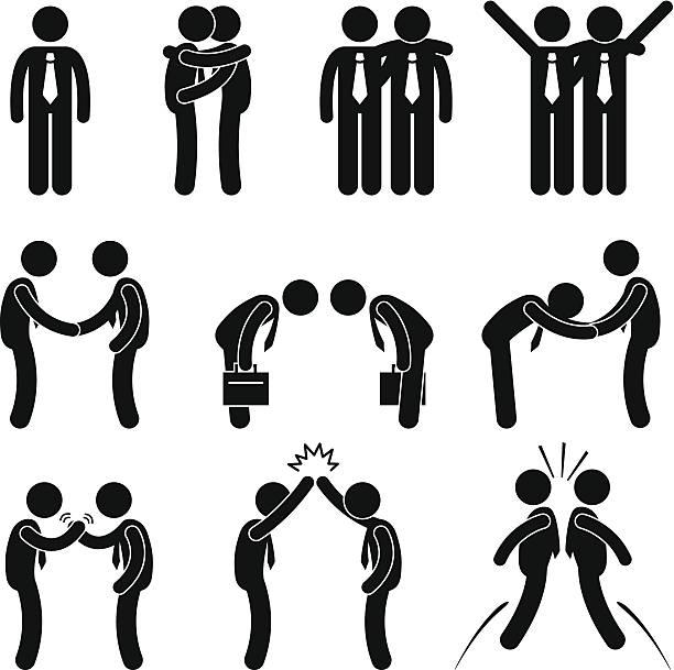 ilustrações de stock, clip art, desenhos animados e ícones de saudações de maneira negócios gesto stick figura pictograma ícone - tronco nu