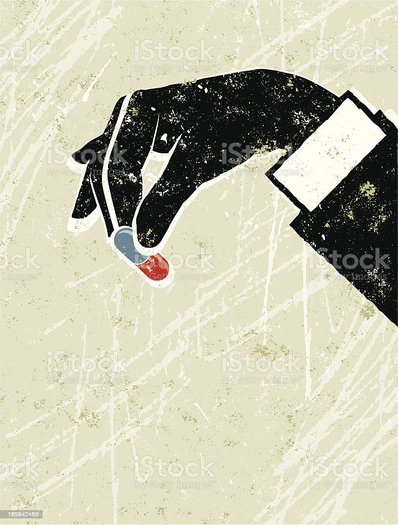 Business Man's Hand Holding a Little Pill royalty-free stock vector art
