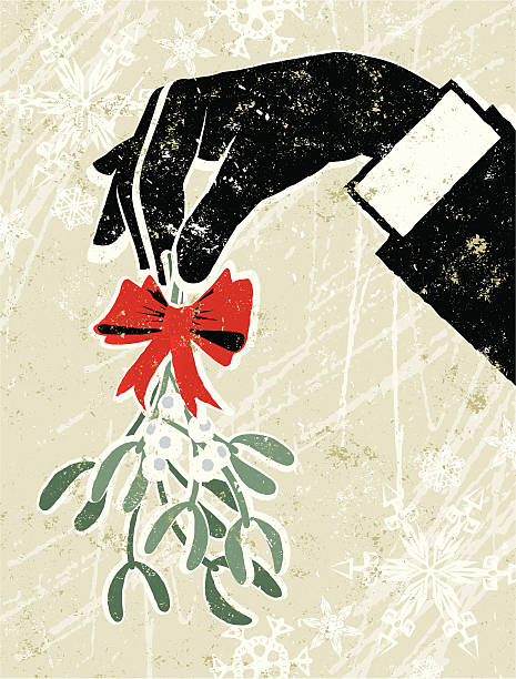 business man's hand holding a sprig of mistletoe - office party stock illustrations, clip art, cartoons, & icons