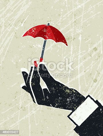 Protection!! A stylized vector cartoon of a Businessman's hand holding a Tiny umbrell, reminiscent of an old screen print poster and suggesting protection, safety,, security,being prepared, inadequate, inadequate cover, too small, or insurance. Umbrella, Card, hand, paper texture, and background are on different layers for easy editing. Please note: clipping paths have been used, an eps version is included without the path.
