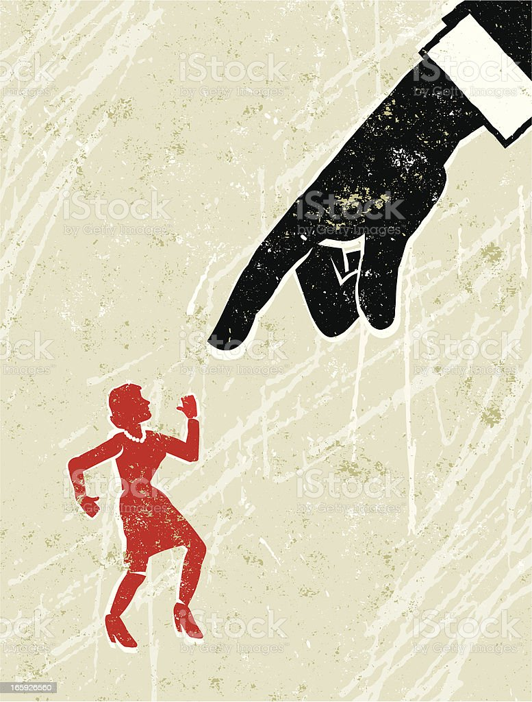 Business Man's Hand Pointing at Tiny Woman royalty-free stock vector art