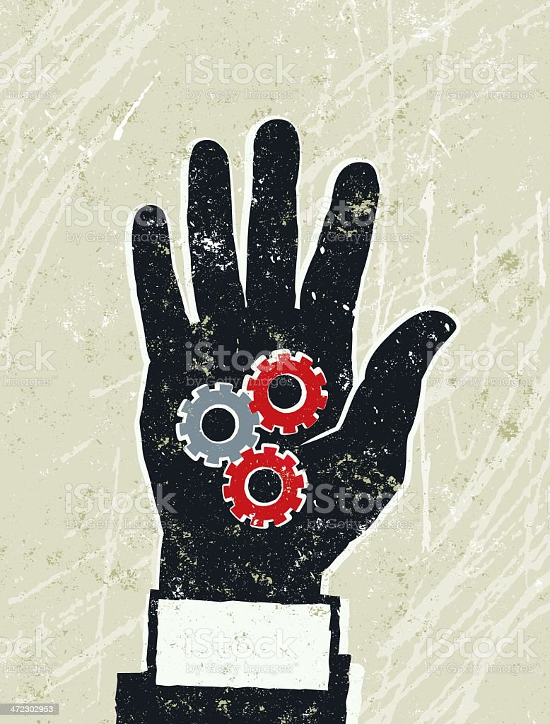 Business Man's Hand with Industrial Cogs on the palm royalty-free stock vector art